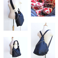 Mid size 3 Way Convertible Bag, Leather Backpack, Messenger and Shoulder Bag- Royal blue