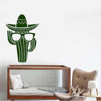 Vinyl Wall Decal Cactus Plant In Sunglasses Sombrero Mexican Stickers (3535ig)