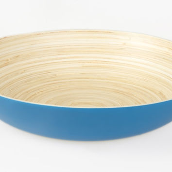 Coiled bamboo plate bowl, blue