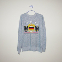 Vintage 80's GERMANY Heather Gray Crewneck SWEATSHIRT - Size Medium