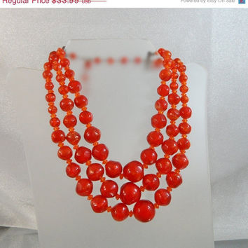 SPRING SALE Vintage Chunky Necklace.  Orange Red Amber. Three Strands.