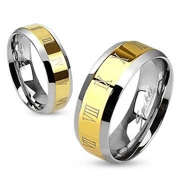 Roman Numerals Beveled Edge Stainless Steel Gold IP Center Band Ring