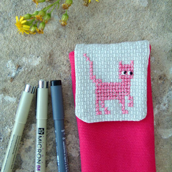 Pink cat pencil case, cross stitch embroidered. Fuchsia school accessories for girl