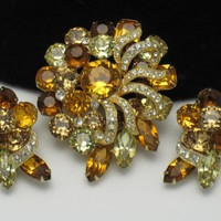 EISENBERG 1950's Vintage Crystal Rhinestone Brooch Pin Earrings SET