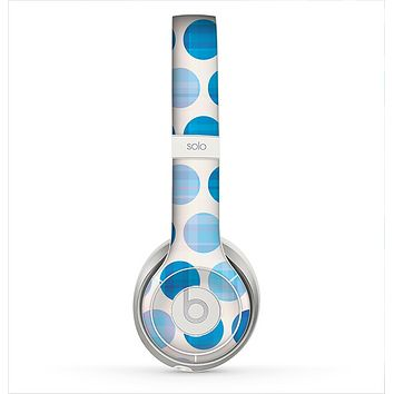 The Vintage Blue Striped Polka Dot Pattern V4 Skin for the Beats by Dre Solo 2 Headphones
