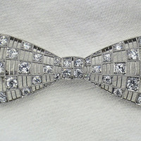 Rare Art Deco Platinum Diamond 300cts Bow by myvintagediamondring