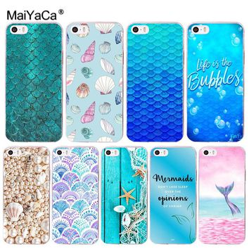 MaiYaCa Fashion Shell Mermaid Tail Scale Phone Cover Case for Apple iPhone 8 7 6 6S Plus X 5 5S SE 5C 4 4S Cover
