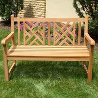 Ala Teak - Teak wood Bench Stool Outside Patio Garden Bench Seat Chair Fully Assembled