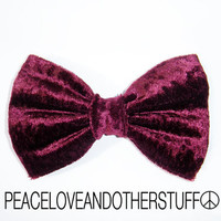 Handmade Burgundy Velvet Hair Bow