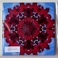Mandala ceramic tile, trivet, red maple leaves and blue sky, autumn, fall mug, all occasion gift, wall decoration, decorated wall tile T678
