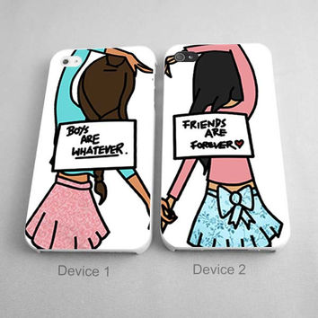 Boys Are Whatever Friends Are Forever Couples Phone Case iPhone 4/4S, 5/5S, 5C Series - Hard Plastic, Rubber Case