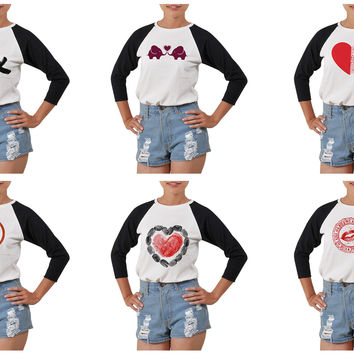 Women's Love heart-1 Printed Elbow Sleeves T- Shirt WTS_03