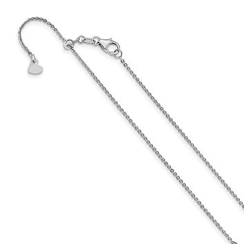 1.25mm 14k White Gold Adjustable Flat Cable Chain Necklace
