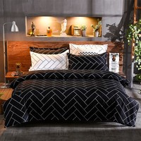 Plaid bedding sets Comforter Cover Set Nordic for bed-clothes black bed cover adult bed linen for full Queen Size