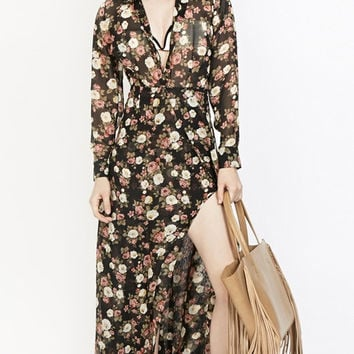 Floral Chiffon Long Sleeve V-neck Maxi Dress with Slit