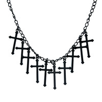 Black Gothic Hanging Crosses Necklace