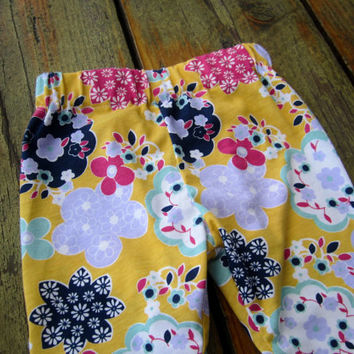 Floral Leggings - Jersey Knit Fabric - Sizes Infant to Girls 6