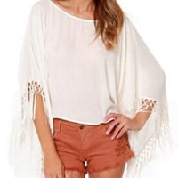 White Tassel Trimmed Sleeve Low Cut Back Chiffon Poncho Top