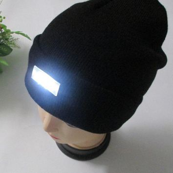 5 LED light Hat Warm Winter Beanies Gorro Fishing Angling Camping Black Caps Knitting Woolen Hat 2016 Fashion