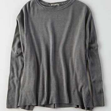 Don't Ask Why Ribbed Light Sweater , Gunmetal