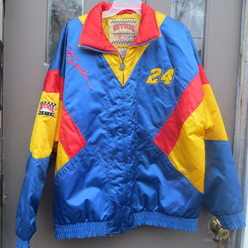 vtg mens Nutmeg NASCAR Jeff Gordon #24 multi colored  zip front Nylon SATIN   jacket sz   XLARGE