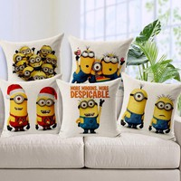 45*45cm Minions Children Cushion Cover Minion Bed Sofa Pillow Decorative Cushions Fundas Para Cojines Without Filling