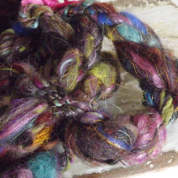 Delhi Junction -   OOAK Handspun Art yarn Super chunky - earth and jewel tones