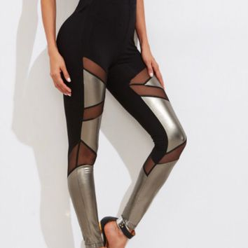 Shiny Gold and Black with Mesh Leggings