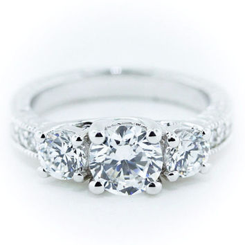 Three Stone Engagement Ring Moissanite Center and Side Stones Diamond Setting - Honestly