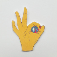 Hand sign brooch - OK sign - statement jewelry - shrink plastic brooch - shrink plastic jewelry