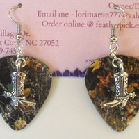 Mossy Oak Camo Camouflage guitar pick earrings with cowboy boot charm country