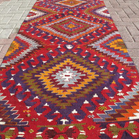 "Modern Bohemian Home Decor/ Vintage Handwoven Wool Turkish Kilim Rug Runner Carpet, Area Rug Kelim Carpet 35,8"" x 118,1"""