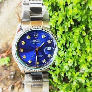 Rolex Hot Sale Couple Diamond Blue Dial Movement Watch Business Watches Wrist Watch