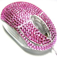 My Associates Store - USB Optical Scroll Wheel Pink Crystal Rhinestone Computer Mouse