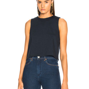 Tibi Pinstripe Knit Sleeveless Cropped Top in Navy Multi | FWRD