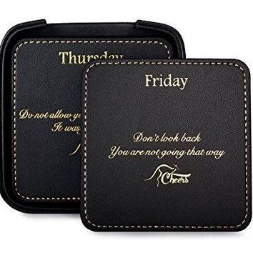 Square Black Leather Drink Coaster Set with Holder for the Home and Office with 7 Inspirational Sayings 8 Pieces Perfect Gift for Men and Women