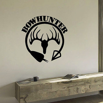 WALL DECAL VINYL STICKER ANIMAL DEER ARROW HUNT BOW HUNTING DECOR SB621