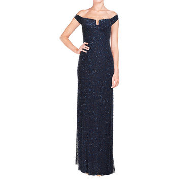 Aidan Mattox Fully Beaded Sequin Navy Blue Evening Gown | Overstock.com Shopping - The Best Deals on Evening & Formal Dresses