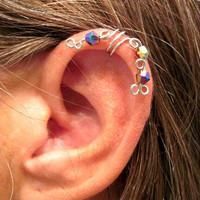 No Piercing Peacock Ear Cuff for Upper Ear 1 by ArianrhodWolfchild