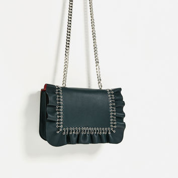 FRILLED LEATHER CROSSBODY BAG DETAILS