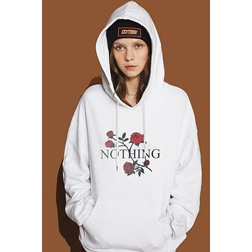 Rose Flower Print Pockets Fashion Hoodie