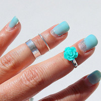 3 Summer Rings - Above The Knuckle Rings - Teal Rose -  Boho Rings - Midi Ring - Knuckle Rings -  Set of 3 by Tiny Box