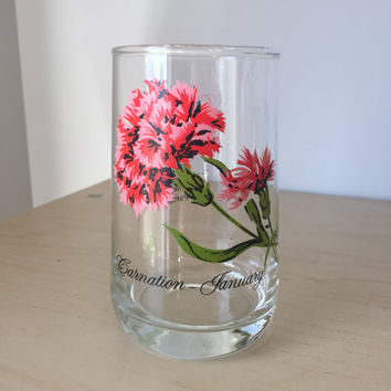 Vintage Flower of the Month Series Drinking Glass, January Carnation Red Pink Floral Glass Cup, Birthday Gift