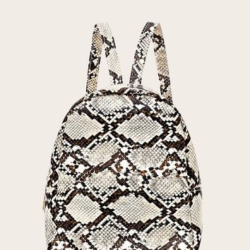 Snakeskin Print Curved Top Backpack
