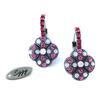 NEW Pink and Opal Swarovski crystal multi-stone earrings, lever back clover shape, Siggy bling
