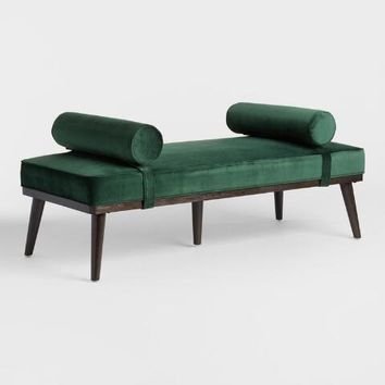 Forest Green Kaylyn Bench with Bolsters