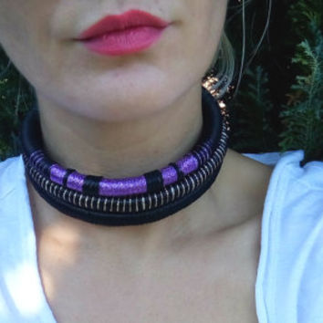 Choker necklace, tribal choker, Choker, Rope necklace, Tribal necklace, statement jewelry, tribal bib, African necklace, Collier Africain