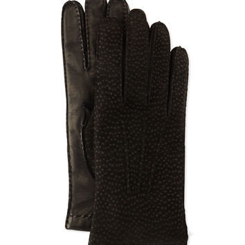 Cashmere-Lined Capybara Leather Gloves, Size: