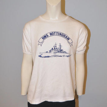 Vintage HMS Nottingham D91 T-Shirt 1980's Royal Navy England United Kingdom Naval Ship Tshirt Retro Women's Cut Tee Shirt Size Large