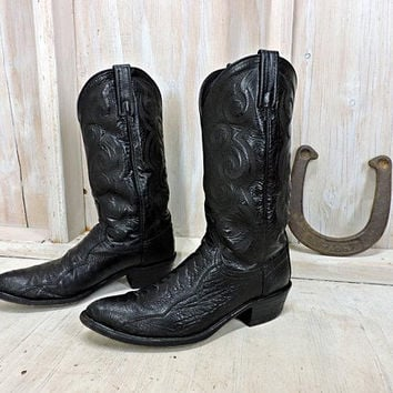 Vintage Cowboy boots / Mens size 9.5 D / Dan Post boots   / black leather boots / western boots / tooled leather / made in El Paso TX USA